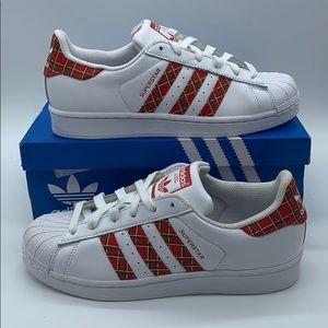 """Adidas Originals Superstar """"Plaid"""" White Red Skate"""